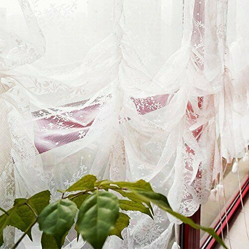 Elegant White Lace Embroidered Sheer Ballon Curtains Adjustable Tie-Up 78x59in