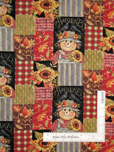 Harvest-Time-Patch-Autumn-Scarecrow-Cotton-Fabric-Springs-CP47499-By-The-Yard