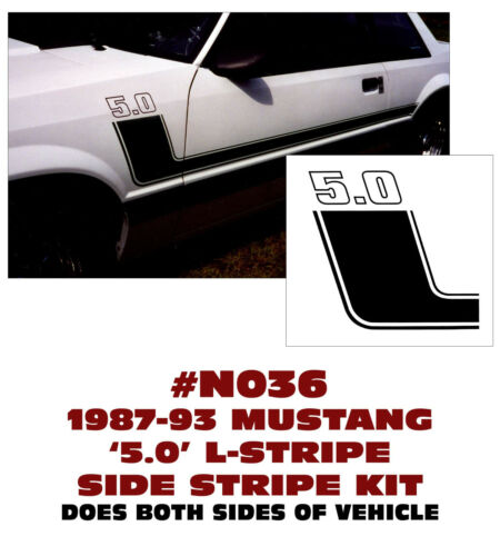 SIDE STRIPE KIT 5.0 NUMERAL 5.0 BOSS STYLE L N036 1987-93 FORD MUSTANG