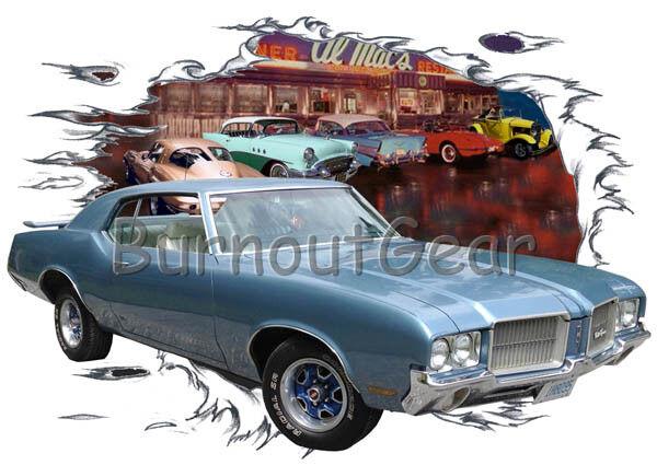 1972 Blau Oldsmobile Cutlass b Custom Hot Rod Diner T-Shirt 72 Muscle Car Tee