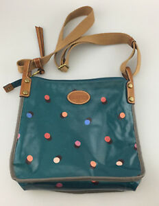 Details About Fossil Waxed Canvas Crossbody Bag Purse Blue Polka Dot Designer Shoulderbag