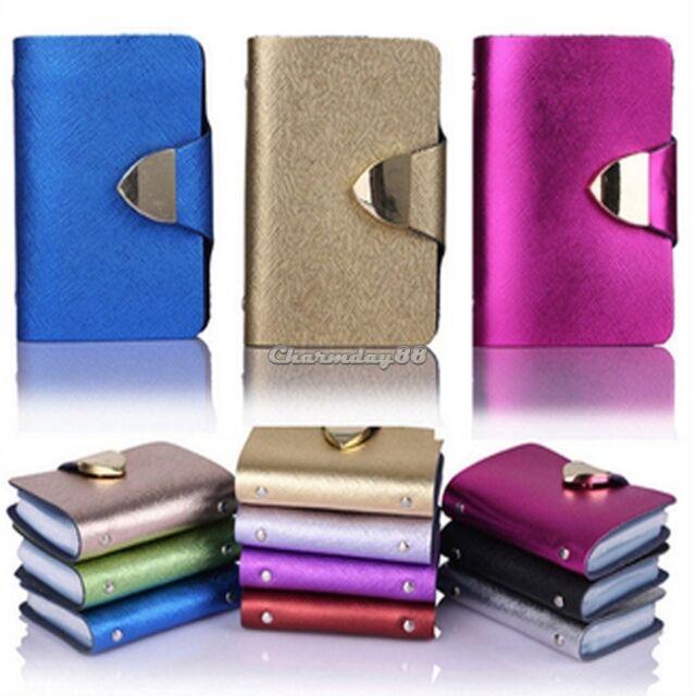 Women Men Leather Pocket Business Credit ID Card Holder Case Wallet for 26 Card
