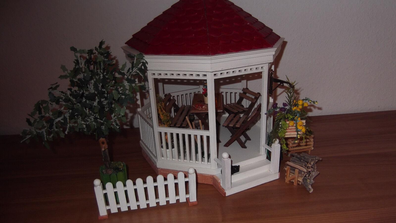 Dolls Dolls Dolls House Gartenpavilion Maßstab 1 12 selbst gebaut mit Zubehör e895ca