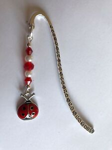 BOOKMARK-Tibetan-Silver-With-Cute-LADY-BIRD-Charm-Present-In-Gift-Bag