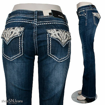 New Grace In LA Idol Denim Rhinestone Cross Flap Back Pocket Boot Cut Jeans