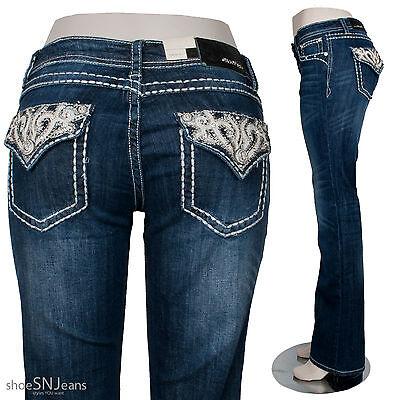 New Grace In LA Idol Denim Rhinestone Cross Flap Back Pocket Boot Cut Jeans