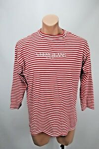 VTG-90s-Guess-Jeans-Red-White-Stripe-Waldo-Embroidered-Logo-3-4-T-Shirt-OSFA