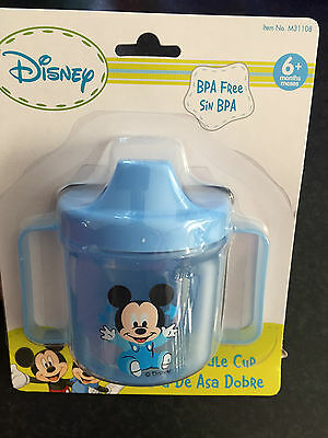 Months BNWT Mickey Mouse Blue Twin Handle Plastic Sippy Drink Trainer Cup 6