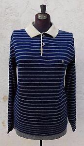 Christian-Dior-Sweater-Beige-Blue-Orlon-Acrylic-Long-Sleeve-Polo-Shirt-S-Mens
