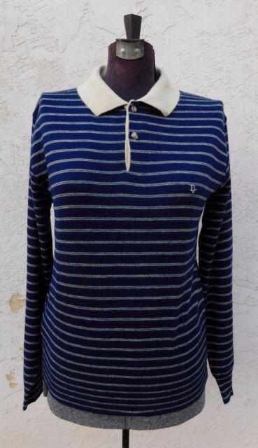 Christian Dior Sweater Beige Blue Orlon Acrylic Long Sleeve Polo Shirt S Mens