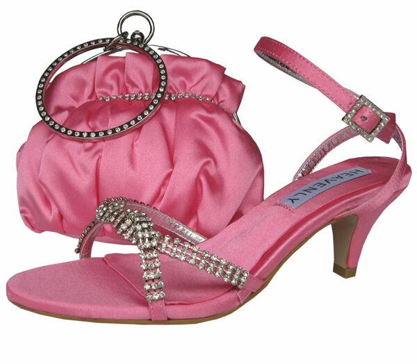Ladies Wedding Party Low Heel shoes Evening Sandal Sandal Sandal Diamante Candy Pink Satin NEW 70dee1