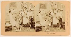 """ A Feu Scena Da Genere Foto Stereo PL55L6n Vintage Albumina"
