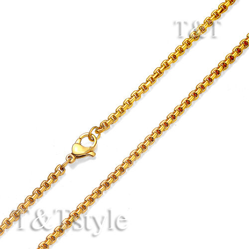 T/&T 2mm 14K Gold GP Stainless Steel Round Box Chain Necklace C145