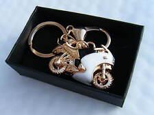 Golden Motor Bike Keyring Motorcycle Key Chain Gift Boxed