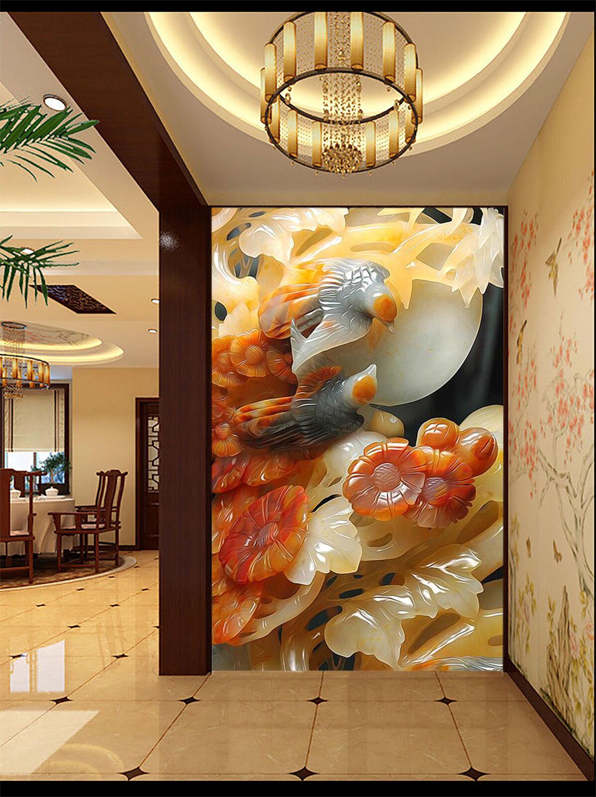 3D Jade Fleur 009 Photo Papier Peint en Autocollant Murale Plafond Chambre Art