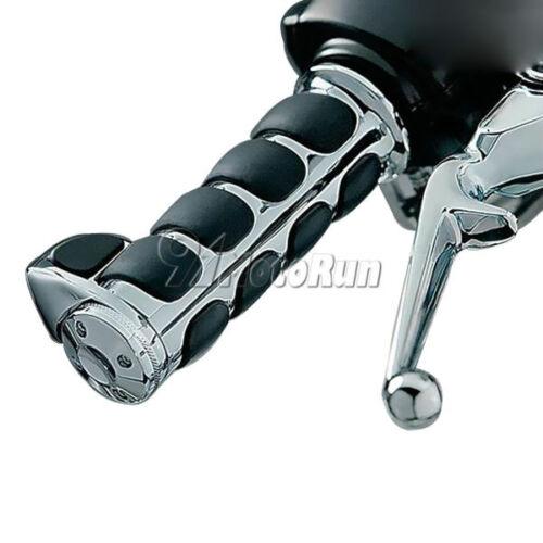 "1/"" Chrome//Black Hand Grips For Yamaha V-Star XVS 650 950 1100 Custom Silverado"