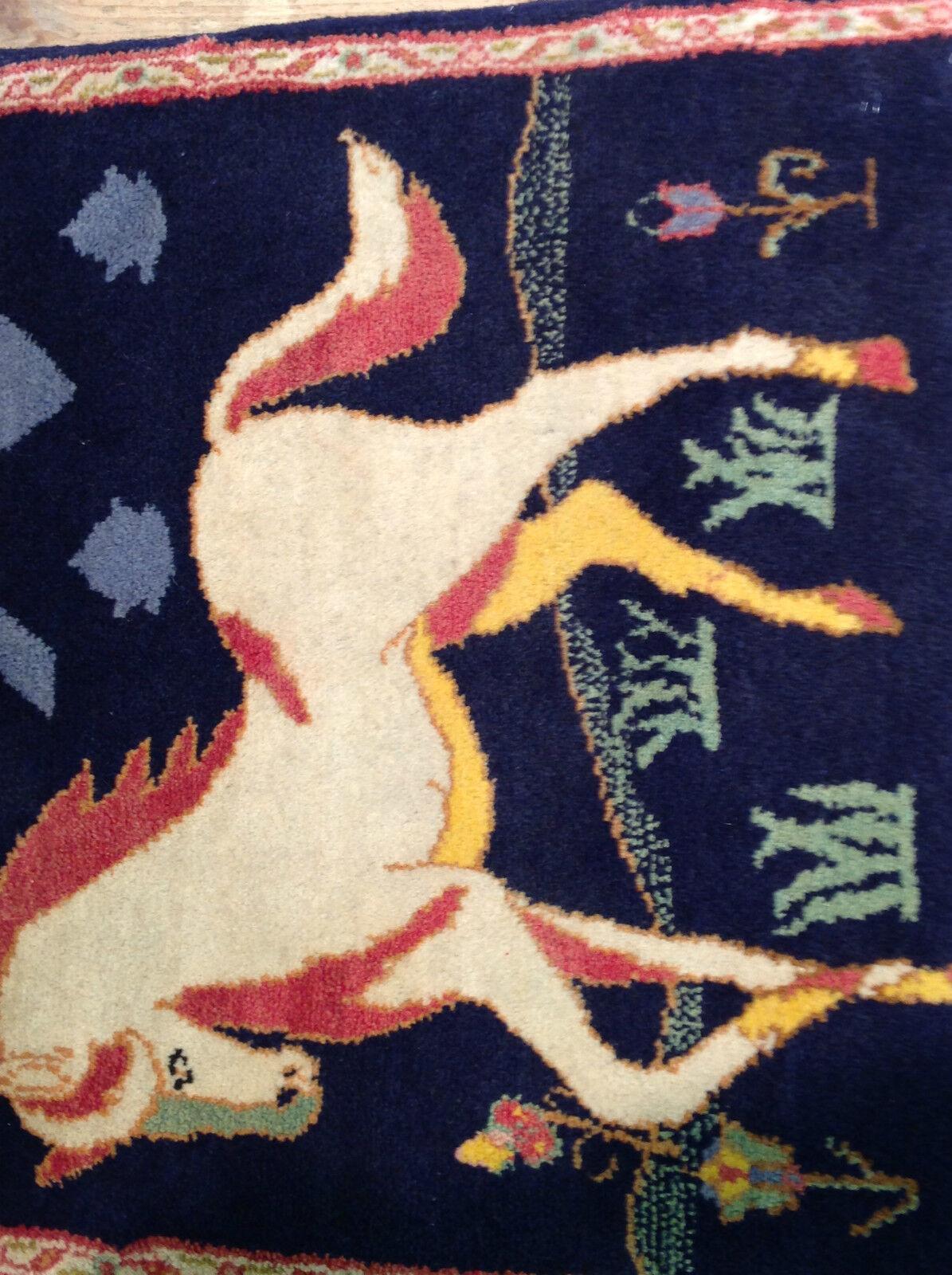 Tapis oriental tissé tissé tissé main, Tapisserie Persan 60 x 65 cm excellent état   De Fin D'année Bonnes Affaires Vente  2f348e