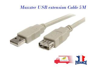 Cable-d-extension-Usb-5m-Cable-rallonge-de-USB-2-0-A-male-vers-A-femelle-Blanc