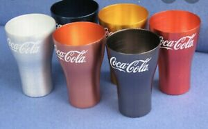 McDonald-039-s-coke-glass-whole-set-Red-silver-charcoal-blue-yellow-and-rose-gold