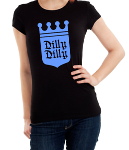 Ladies Women/'s T Shirt Dilly Dilly Print Budweiser Gold Pink /& Blue