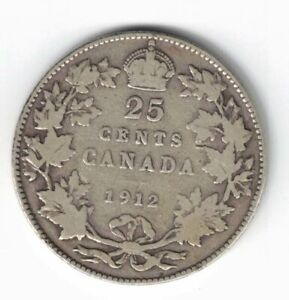 CANADA-1912-TWENTY-FIVE-CENTS-QUARTER-KING-GEORGE-V-STERLING-SILVER-COIN