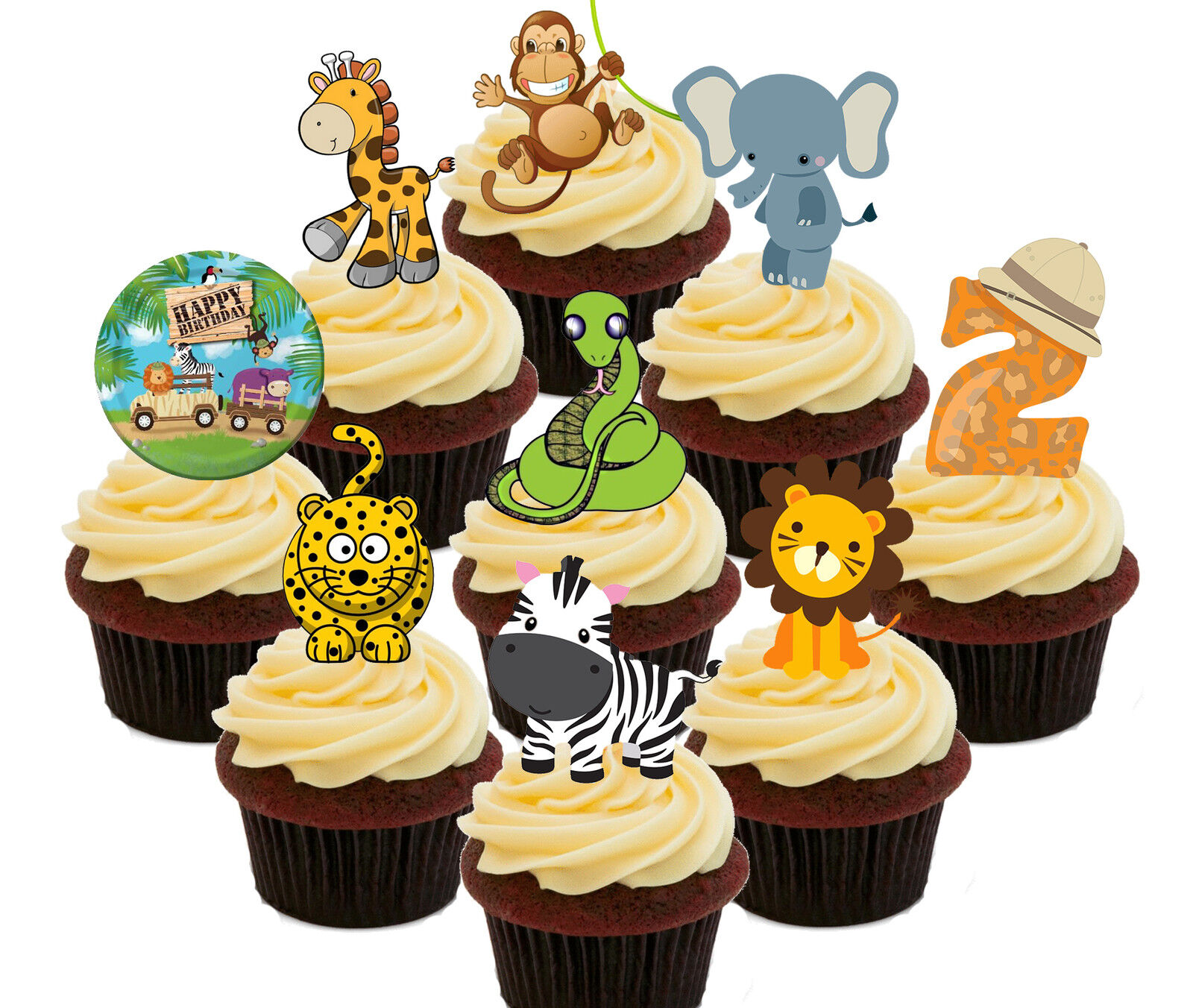 Fabulous 2Nd Birthday Jungle Zoo Animals Edible Cup Cake Toppers 36 Fairy Funny Birthday Cards Online Amentibdeldamsfinfo