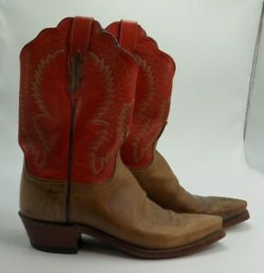 7cd731bcf71 Details about WOMENS LUCCHESE 1883 HANDMADE Red Brown Western Cowboy snip  toe BOOTS 9 B