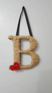 Details About Jute Wall Decor Initial House Warming Gift Home Rustic Pers