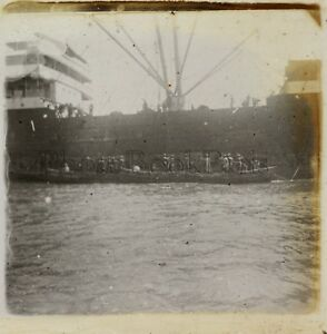 Port Africa Asia Foto Placca Da Lente Stereo L8 Vintage Ca 1910
