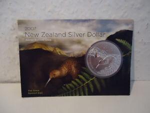 !!!neuseeland Kiwi - 2007 - Silber $1 Im Blister Munzen- 1 Oz Kiwi Rar Fest In Der Struktur