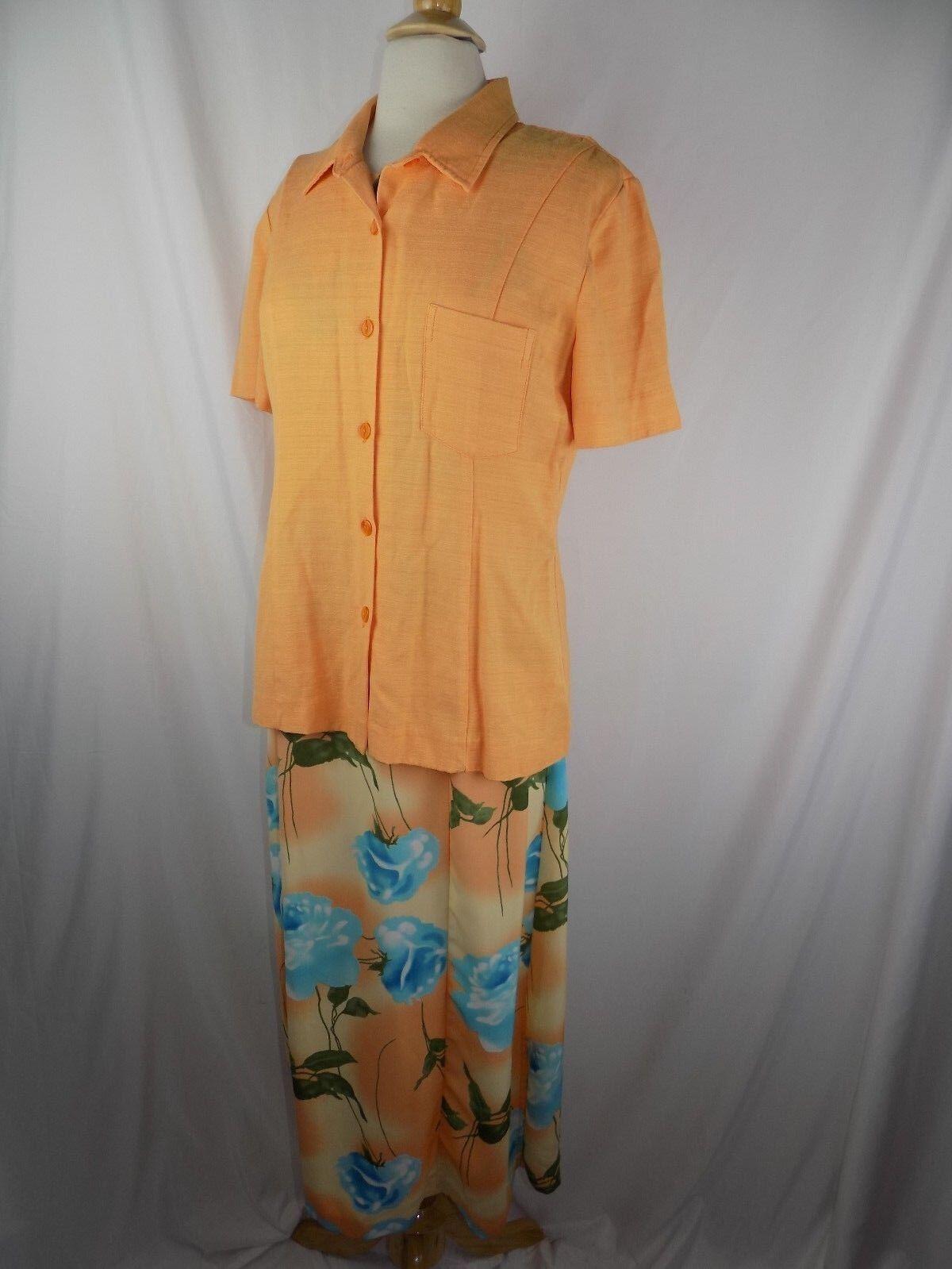 Kaktus Women's Size Medium 2 pc orange Floral Dress & Button Shirt Top