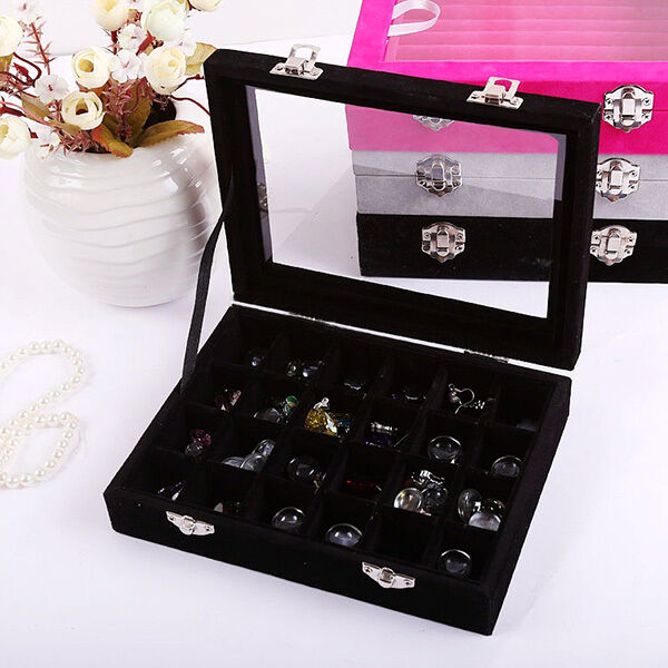 24 Rings Earring Holder Storage Case Glass Velvet Jewelry Tray