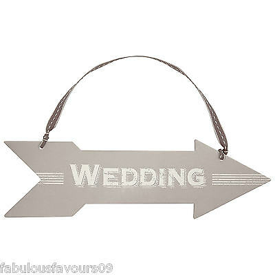 Cardboard Wedding Arrow Direction Sign with Ribbon by East of India