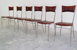 Eccezionale lotto di sedie da cucina struttura cromata anni