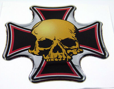 """Maltese cross with Skull Emblem domed decal on chrome Bike Motorcycle Car 2.5"""""""