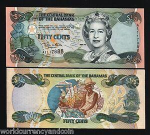 UNC/>QEII 2001 Bahamas 1//2 0.5 Dollar 50 Cents P-68