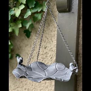 Bird-Feeder-Metal-Hanging-with-Bird-Sculpture-Decor-30x17x36cm