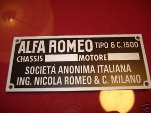 Panneau Type Alfa Romeo Plaque Schild 6c1500 6c 1500 6 C 4binkwd6-07222402-675218032