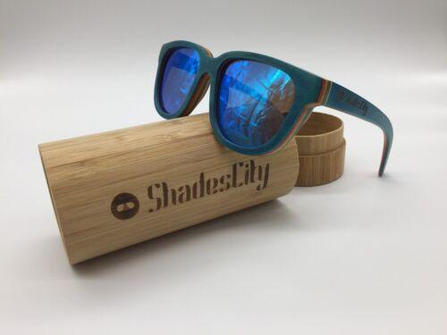 2019 Handcrafted Skate Wood Frame Blue Mirror Polarized Lens Sunglasses 100/% UV