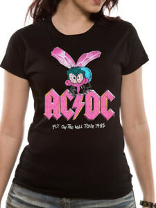 AC-DC-Fly-On-The-Wall-Tour-1985-T-Shirt-Official-Ladies-Fitted-Skinny-S-M-L-XL