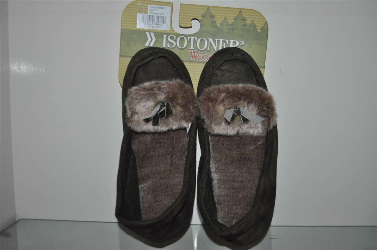 Isotoner Woodland Womens Slippers 03576ARMMD Army Green See Sizes NWT