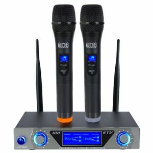 Pro-VHF-Wireless-2-Channel-Dual-Handheld-Microphone-Mic-System-Kits-Party-KTV