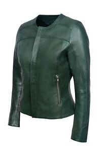 Jacket Real Ladies Luxury Nappa Style Leather New Green Soft Design Dark Casual UwAEnWqWX