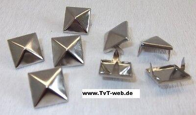 50 Krallennieten Pyramidennieten 12 x 12 silber  ! rostfrei !!
