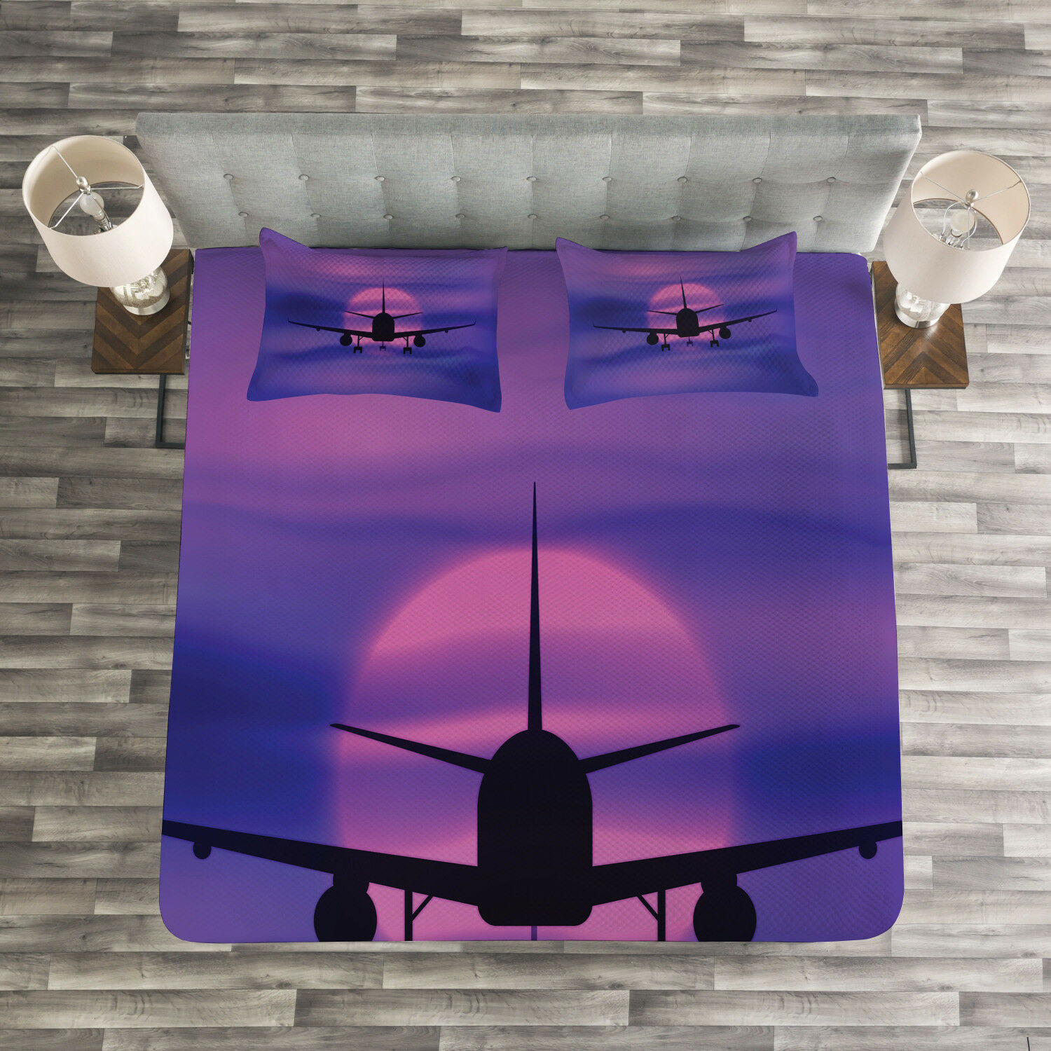 Flugzeug Quilted Bedspread & Pillow Shams Set, Dreamy Sky Traveling Print