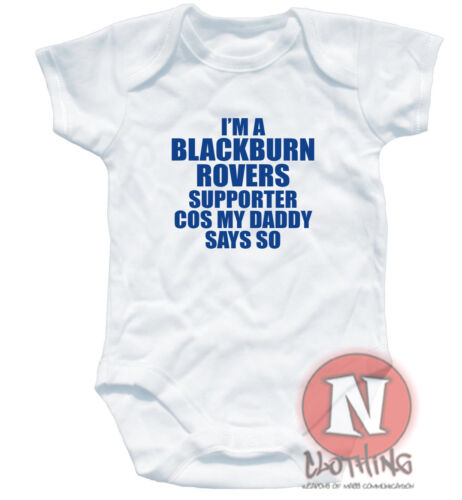 Naughtees clothing BLACKBURN ROVERS funny cute football babygrow baby suit vest