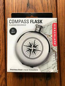 New Sealed Kikkerland Found Compass Flask 5 Oz 148 Ml Stainless Steel Ba31 L Ebay