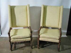 PAIR-of-Drexel-Bishopsgate-English-Style-Wing-Back-Chairs-Oversized-1970-039-s