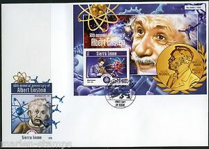 SIERRA LEONE 2015 ALBERT EINSTEIN 60th MEMORIAL ANNIVERSARY NOBEL S/S FDC
