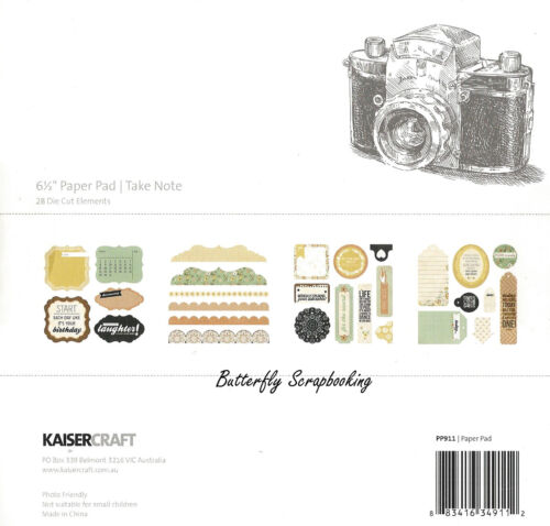 Take Note Collection 6.5 inch Paper Pad Scrapbooking Kit Kaisercraft NEW